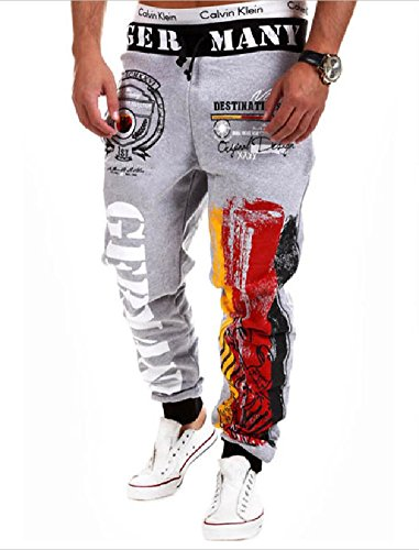 MO GOOD Men's Casual Letter Pattern Printing Sport Baggy Jogger Long Pant (M, ty-gray)