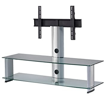 Elbe pl-2000-c-slv TV Cabinet Stand For Horizontal, 140x 86x 44cm, Colour Glass and Silver