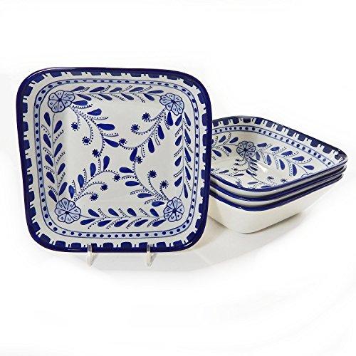 Le Souk Ceramique Square Pasta/Salad Bowls, Set Of 4, Azoura Design