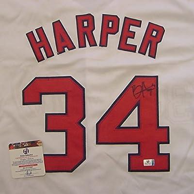 Bryce Harper Washington Nationals Autographed White #34 Jersey COA
