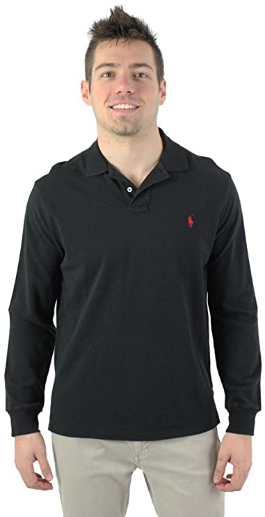Ralph Lauren Long Sleeved Red Soft Mesh Men Polo .