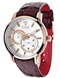 Detomaso Men's Automatic Watch with Silver Dial Analogue Display and Red Leather Strap DT1046-E