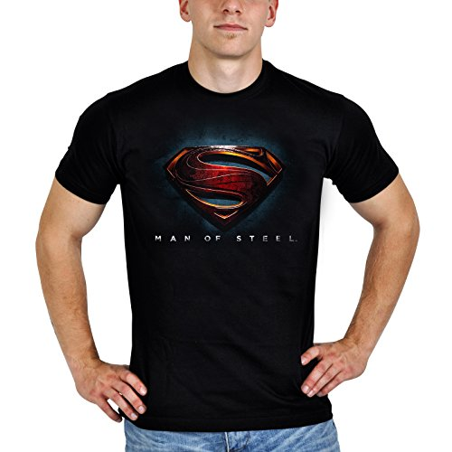 Superman - T shirt - Logo di Man of Steel - L'Uomo di Acciaio - Girocollo con stampa - Nera - M