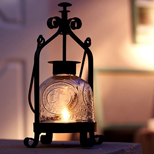 YOURNELO Vintage Decrative Round Hanging Lanterns Lamps Hurricane Candleholders (Tabletop Candles Hurricane Lamps compare prices)