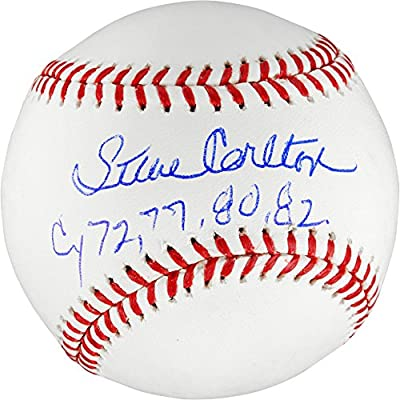 Steve Carlton Philadelphia Phillies Autographed Baseball with Cy 72, 77, 80, 82 Inscription - Fanatics Authentic Certified