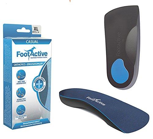 Footlogics CASUAL - EL ORIGINAL - Para el dolor de talones, espolones, Fascitis Plantar, dolor de rodilla y espalda - ¡Plantillas de excelente calidad!, talla 44 - 46 (L)