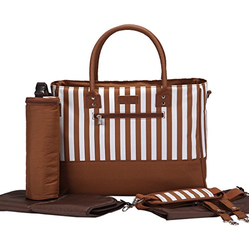 Damai Strips Diaper Tote Bag With Bottle Bag And Changing Pad (Coffee)
