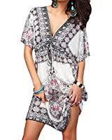 SUNNOW Bohemian style Print Floral Col V Loose Mince Robe Tunique Robe