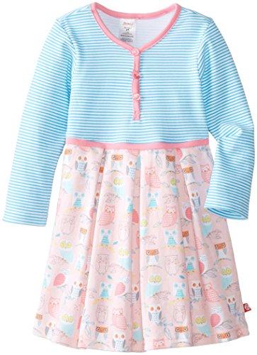 Zutano Little Girls' Wide Awake Pretty Pleat Dress, Blush, 4T front-848442