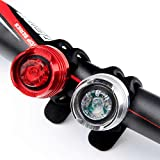 Refun R101 2pcs of RED and White High Intensity LED Aluminum Alloy Water Resistant Led Front and Rear Bicycle Bike Light Set, 1 Red Taillight (Rear Light) and 1 White Headlight (Front Light) for Cycling Bikes Helmets Backpacks stroller Safety Flashlight, Powered By CR2032 Batteries (Included)