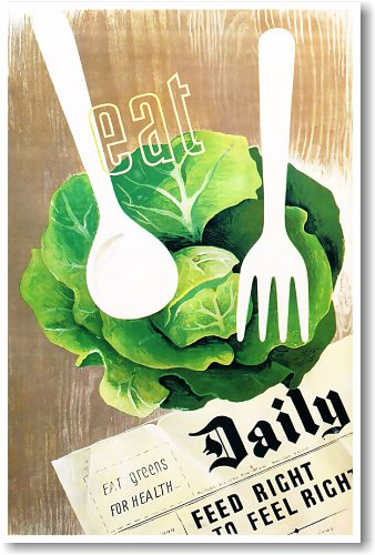 Eat Green Daily - NEW Health Poster (Fruit And Vegetables Posters compare prices)