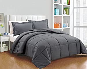 Chezmoi Collection 3-piece Down Alternative Comforter Set (Queen, Gray)