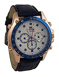 Addic EWWE Cream Color Dial With Dark Blue Circular Bezel And Black Leather Strap Watch For Men (31)