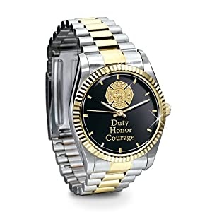 Stainless Steel Firemen Watch Gift For Firefighters: 24K Gold-plated Accents and Maltese Cross