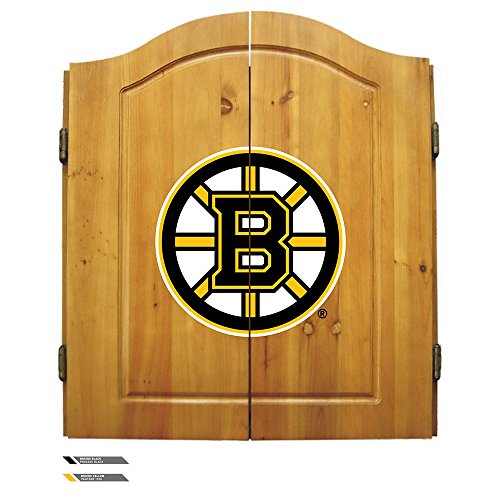 Nhl Boston Bruins Team Dartboard Cabinet Set