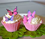 Edible Butterflies © - Small Assorted Pink and Purple Set of 24 - Cake and Cupcake Toppers, Decoration from Sugar Robot inc.