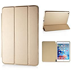 Moca(Tm) Xiaomi Mi Pad 2 Smart Case Cover,Leather Stand Smart Flip Case Cover For Xiaomi Mi Pad 2 Mipad 2 Smart Case Cover -Gold. + Get Designer Metal Tin Free!