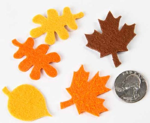 Autumn Fall Color Leaf Felt Stickers - 3 Individual Packages, 48 Total Felt Leaves - For Card Making, Scrapbooking or Other Crafts