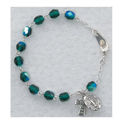Sterling Silver Full Wrap Around Youth Childrens Girls Green Celtic Rosary Bracelet Emeral Aurora Glass Irish.