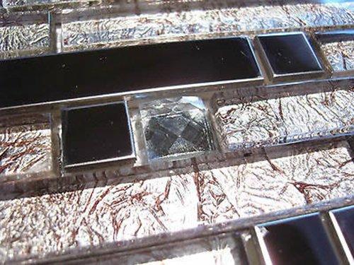 FLIESENTOPSHOP Glasmosaik Edelstahlmosaik Mosaik Metall Metalleffekt Fliese silber DIAMANT