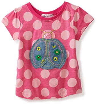 Pink Angel Little Girls' Lady Bug Tee, Pink, 4T