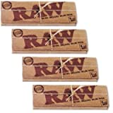 Raw Natural Unbleached 1.25 Cigarette Rolling Papers, 4 Packs