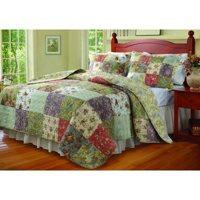 Blooming Prairie King Size 3-Piece Quilt Set -Multi/Jocobean