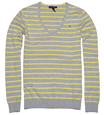 Tommy Hilfiger Women V-neck Striped Logo Sweater Pullover (XS, Grey/yellow)