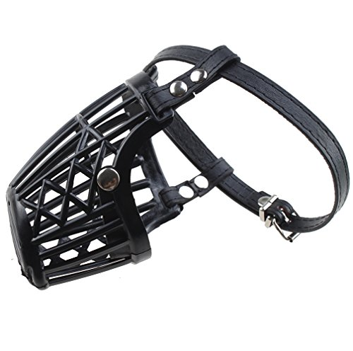 "Agptek Large Size Adjustable Lightweight Ultra Pet Dog No Bite Bark Mouth Mask Muzzle Comfortable Pu Strap Dog Mouth Basket Cage, Collar Lengh 15.5-18"" / 40-46Cm"