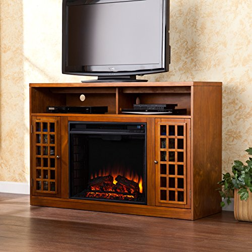 """Wildon Home Lipan 48"""" Tv Stand With Electric Fireplace Glazed Pine Wood Unique Design Cabinet Eco-Friendly Adjustable Thermostat Great Decor For Living Room"""