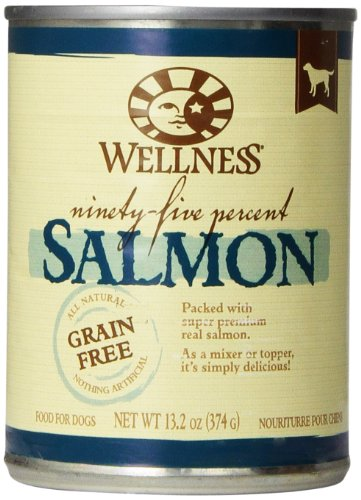 Wellness Canned Dog Food for Adult Dogs, 95-Percent Salmon, 13.2-Ounce Cans, Pack of 12