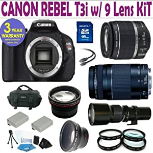 Canon Rebel T3i (EOS 600D/KISS X5) 9 Lens Deluxe Kit with EF-S 18-55mm f/3.5-5.6 IS II Zoom Lens & EF 75-300mm f/4-5.6 III Telephoto Zoom Lens + 500 Telephoto Preset Lens + 16GB Deluxe Accessory Kit + 3 Year Celltime Warranty
