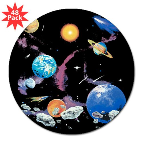 """3"""" Lapel Sticker (48 Pack) Solar System And Asteroids"""