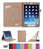 iPad Air 2 (iPad 6) Case Cover, FYY® Premium Leather Case Smart Cover with Card Slots, Pocket, Elastic Hand Strap and Stylus Holder for Apple iPad Air 2 (iPad 6) Khaki (With Auto Wake/Sleep Feature)
