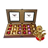 Chocholik Luxury Chocolates - 18pc Luxury Chocolate With Smartly Sparkle Gift Wrapped With Ganesha Idol - Diwali...