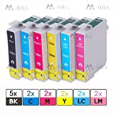 (15pk) 2x Full Sets +3 Extra black of Epson Compatible Ink Cartridges for Stylus Photo P50 PX700W PX710W PX720WD PX730WD PX800W PX810W PX820FWD PX650 PX660 R265 R285 RX560 RX585 R360 RX685 Printer Ink Cartridges Double Capacity Latest Chip