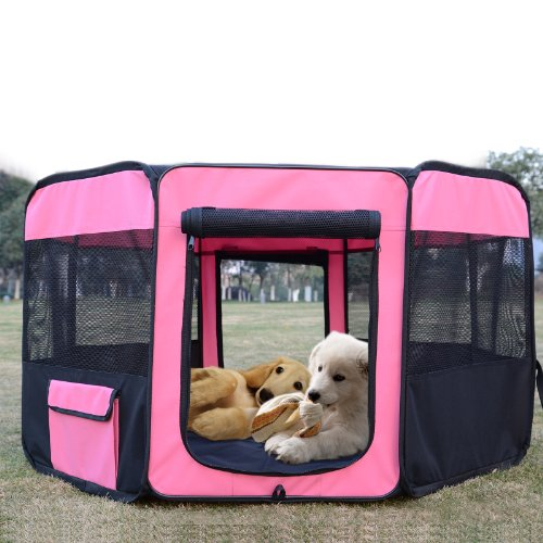 "Pawhut 46"" Deluxe Soft Sided Folding Pet Playpen / Crate - Pink / Black front-751032"