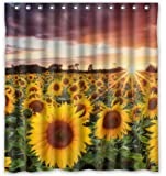 "Unique Custom Beautiful Sunset Sunflower Field Scenery Waterproof fabric Polyester Shower Curtain 66""X72""-Bathroom Decor"