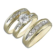 buy 14K Yellow Gold Matching Trio 3 Piece Set Engagement Anniversary Wedding Cz Rings
