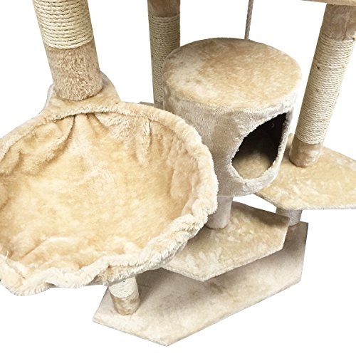 My1stPet Cat Tree Condo with Scratching Post, 80″, Beige