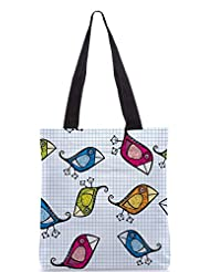Snoogg Vector Seamless Pattern With Cartoon Birds Designer Poly Canvas Tote Bag