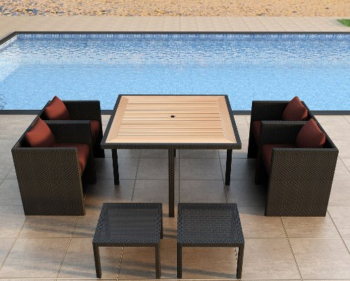 Harmonia Living Arbor Cube 9 Piece Modern Patio Dining Set with Red Sunbrella Cushions (SKU HL-ARCU-9DN-HN) picture