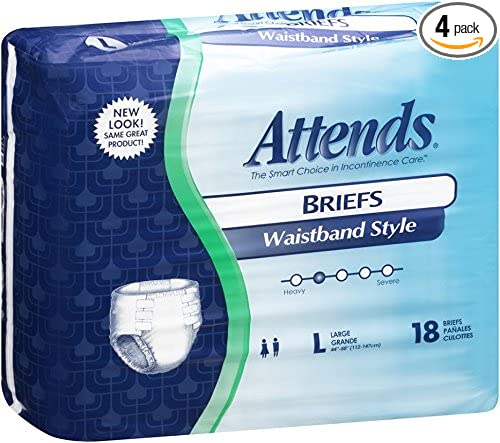 Attends Incontinence Care Briefs for Adults, Waistband Style, Large, 18 Count (Pack of 4)