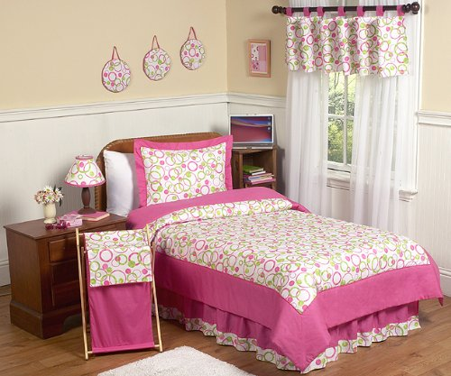Queen Size Pink and Lime Green Circles Bedding