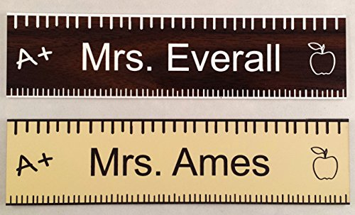 Teacher Office Desk Name Plate or Door Sign - Laser Engraved Signage - School Teacher Appreciation Gift! walnut - CUSTOMIZE