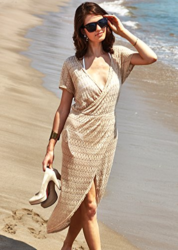 5beb88569a41b MG Collection Woven Beige Fashion Swimsuit Cover Up / Long Crocheted Beach  Dress