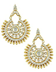 The Art Jewellery Round Shaped Kundan Drop Earrings For Women
