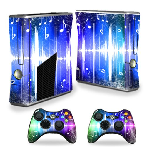 MightySkins Protective Vinyl Skin Decal Cover for Microsoft Xbox 360 S Slim + 2 Controller Skins Sticker Skins Music Man wood grain oak 01 holiday bundle decal style skin set fits xbox one console kinect and 2 controllers xbox system sold separately