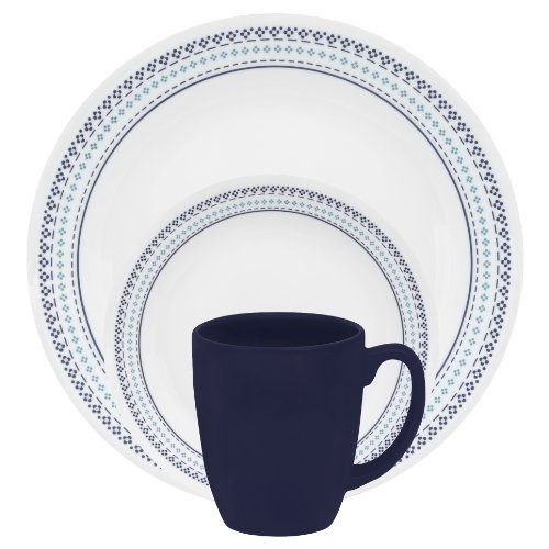 Corelle 16-Piece Livingware Folk Stitch Dinnerware Set