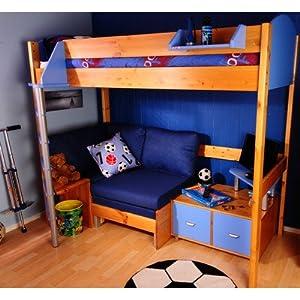 Casa High Sleeper Sofa Bunk Bed Set I Panel Finish: Lilac, Frame Finish: White, Cushion Colour: Lilac Denim